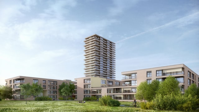 Visualisierung des Areals Vierfeld in Pratteln, im Hintergrund steht der Wohnturm Helvetia-Tower.