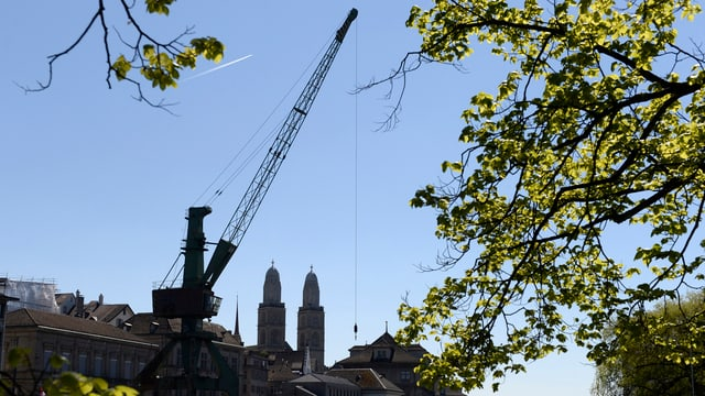 Der Hafenkran als schwarzer Schatten gegen das Stadtbild von Zürich.