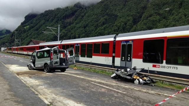 Unfallort mit Kleinbus und Zug