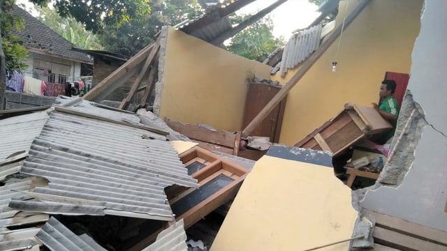 Chasas destruidas a Lombok.