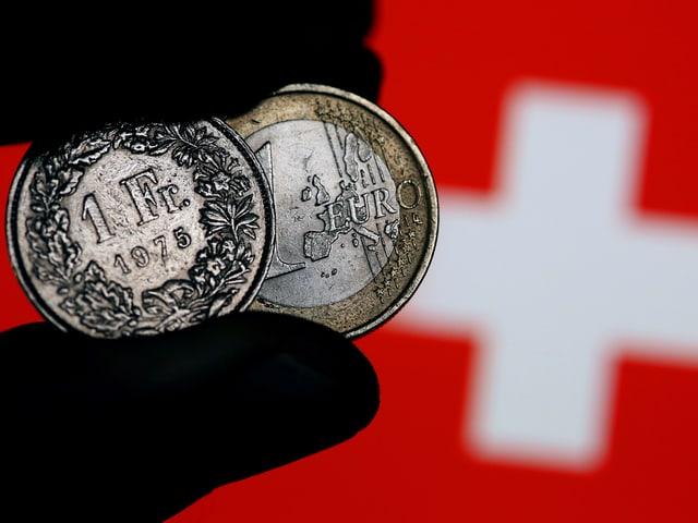 Euro- und Frankenmünzen