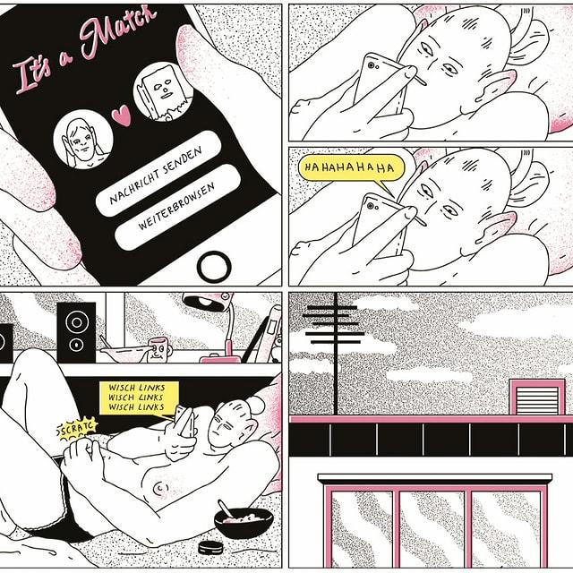 """Bilder aus einem Comic: Handyscreen, auf dem """"it's a match"""" steht. Gesicht einer Frau, sie lacht. Sie liegt auf einem Bett, aus dem Handy kommt eine Sprechblase, in der steht: """"Wisch links, wisch links, wisch links."""""""