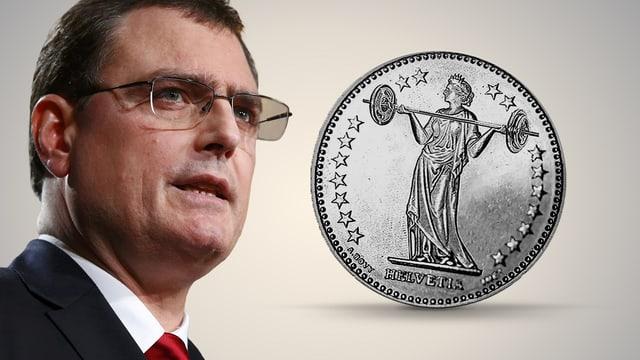 Jordan neben Franken-Münze
