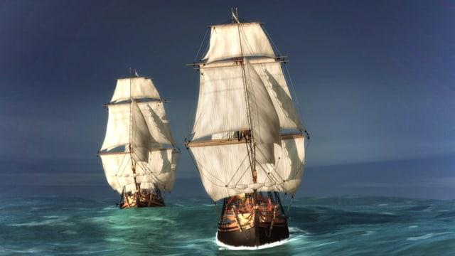 Zwei Schiffe auf dem Meer.