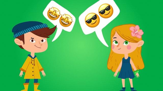 Animiertes Bild; ein Mädchen, ein Junge mit jeweils einer Sprechblase