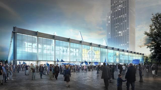 Visualisaziun dal nov stadion Hardturm.