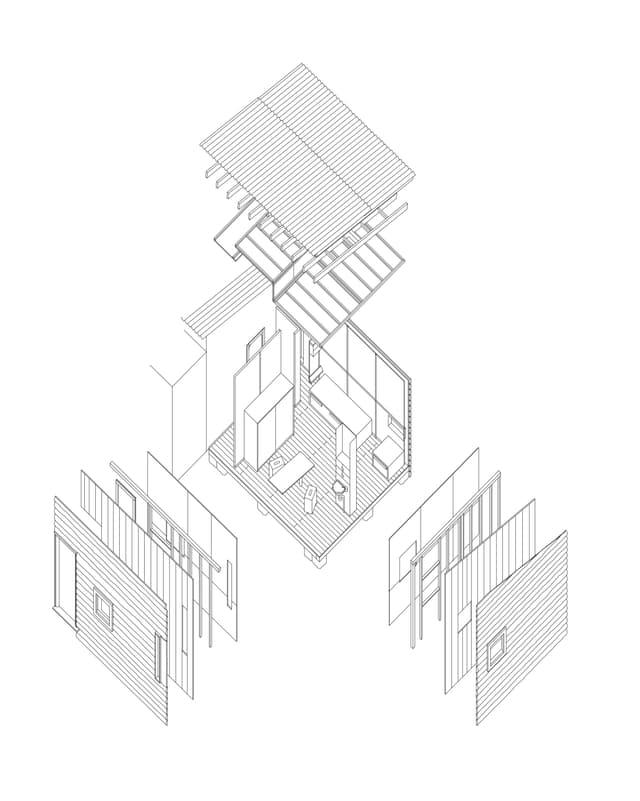 Architekturzeichnung eines sehr kleinen Hauses.