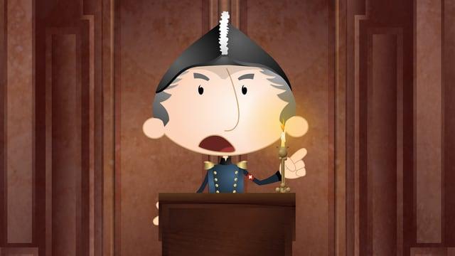 Eine animierte Szene die den General Dufor bei einer Rede zeigt.