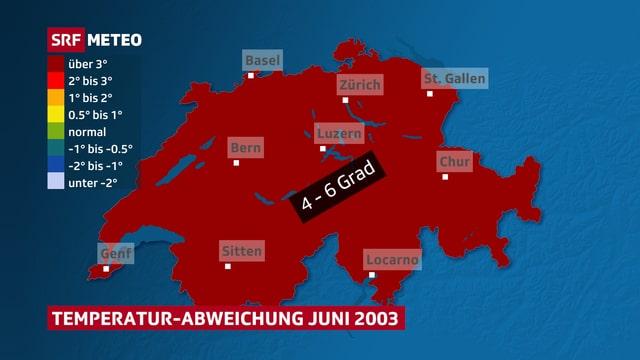 Karte die zeigt, dass es im Juni 2003 deutlich zu warm war.