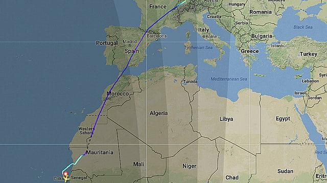 Flugstreck von Swiss LX92 bis zur Landung in Dakkar.