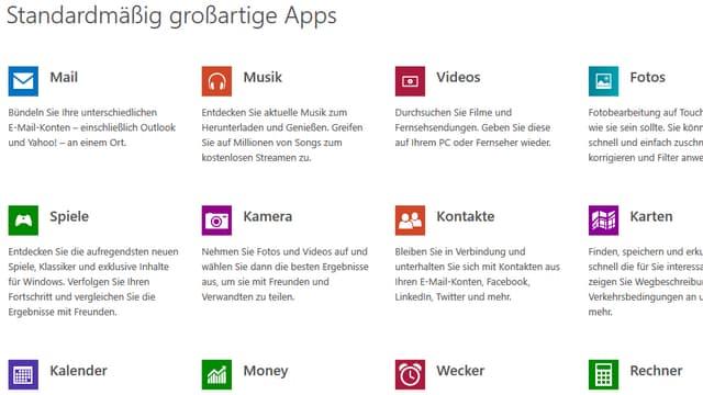 Ein Screenshot aus dem Windows-App-Store mit verschiedenen Standard-Apps zu Musik, Videos, Games usw.