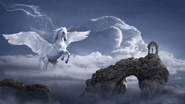 Auf dem Rücken dieses Flügelpferds kannst du im Traum bequem Platz nehmen.