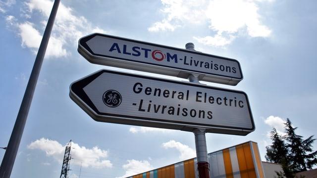 Wegweiser mit den Aufschriften General Electric und Alstom.