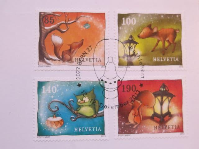 Briefmarken mit einem Stempel