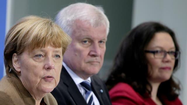 Merkel, Seehofer und Nahles.