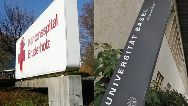 Bruderholzspital und Universität.