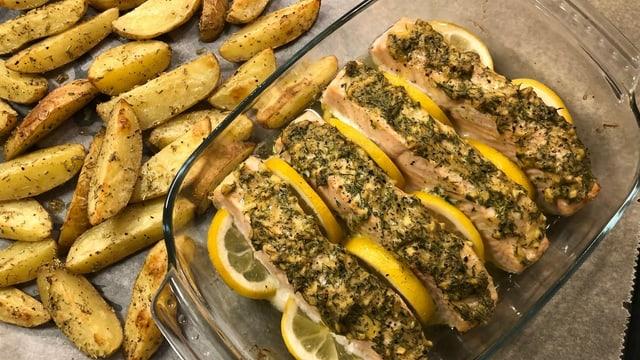 Lachs mit Ingwer-Senf-Dill Marinade und Ofenkartoffeln.