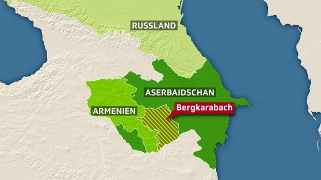 Karte der Region Bergkarabach.