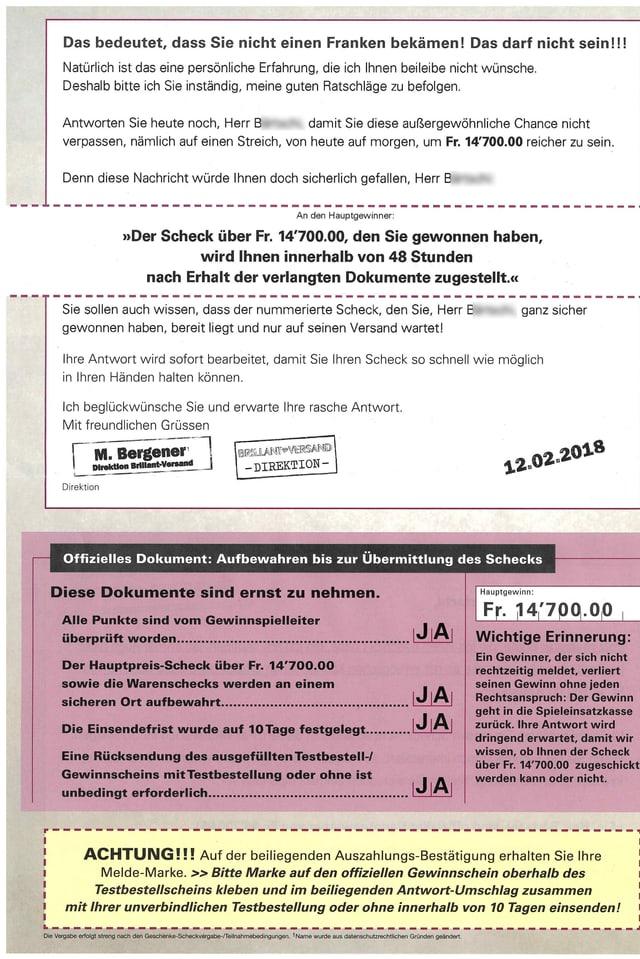 """Die Rückseite einer """"Gewinnbenachrichtigung""""."""