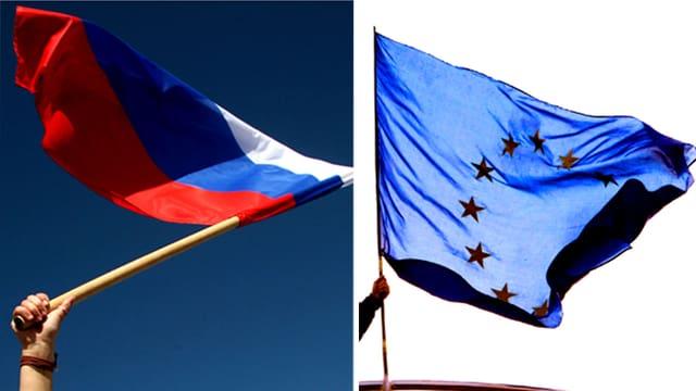 Die Flaggen Russlands und der EU