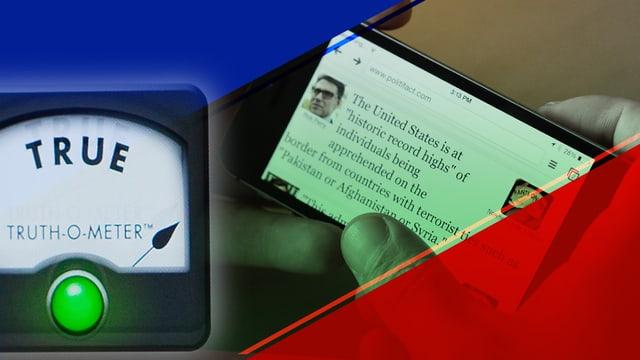 Auf einem Smartphone-Bildschirm ist ein Zitat eines US-Politikers zu sehen. Daneben ist ein sogenannter «Wahrheitsbarometer» zu sehen.