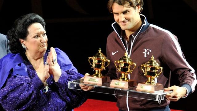 Montserrat Caballé und Roger Federer an den Swiss Indoors 2009.