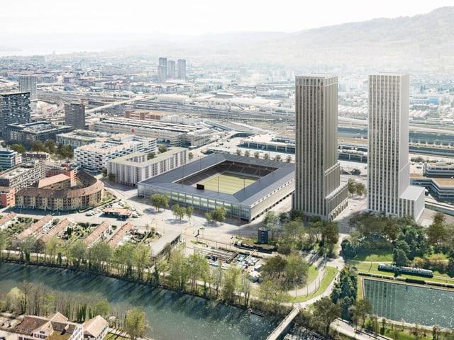 Neben dem Fussballstadion sollen Genossenschaftswohnungen und zwei Hochhäuser entstehen.