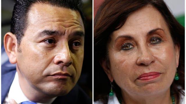 Il comicher Jimmy Morales e l'anteriura First Lady Sandra Torres.