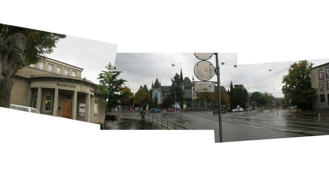 Der Helvetiaplatz in Bern: grau, verregnet, zwischen Kunsthalle und Alpinem Museum.