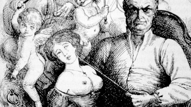 Mann mit gefesselter Frau.