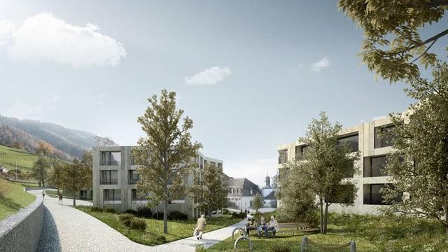 Visualisierung der Eigentumswohnungen auf dem Salesianum Areal in Zug.