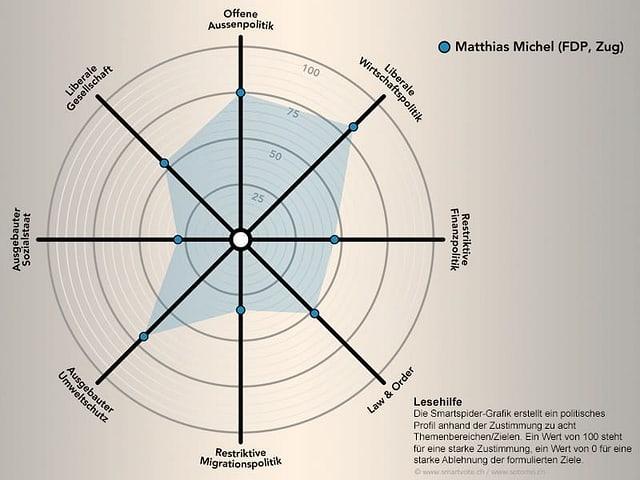 Das politische Profil von Matthias Michel grafisch dargestellt.