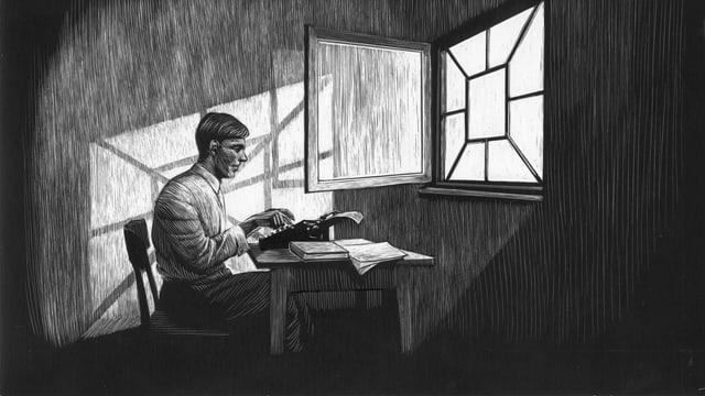 Eine Zeichnung auf Schabkarton. Friedrich Glauser tippt auf einer Schreibmaschine vor einem offenen Fenster.