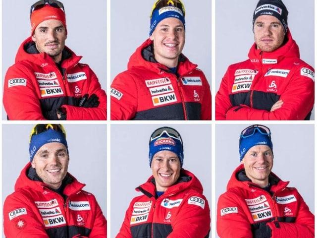 Jonas Baumann, Livio Bieler, Dario Cologna, Erwan Käser, Beda Klee und Toni Livers (von links oben nach rechts unten).