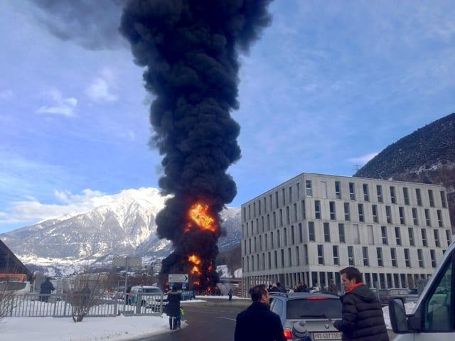 Feuer eines Lastwagens