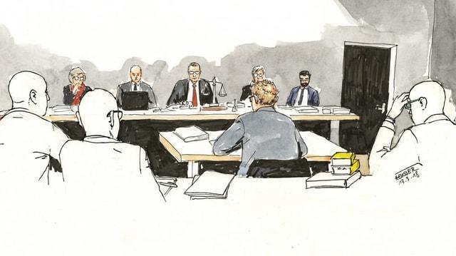 Gerichtszeichnung der Verhandlung im November 2017.