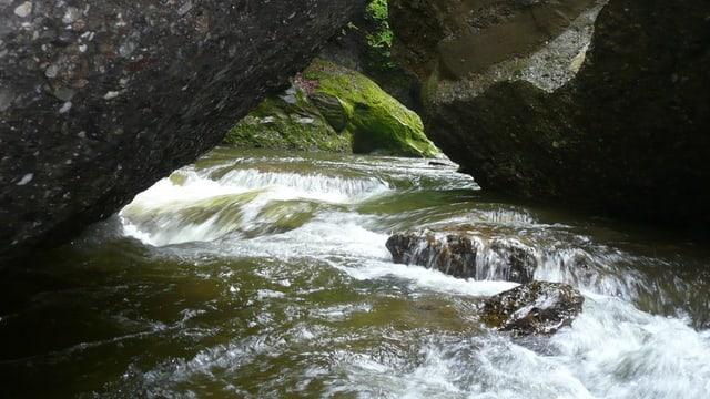Nahaufnahme des Flusslaufes der Waldemme im Luzerner Entlebuch.