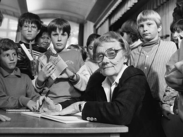Astrid Lindgren am 7. November 1984 in der Kantonsschule Hottingen.