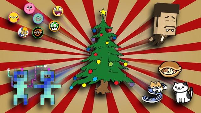 Ein Tannenbaum und pixelige Game-Grafiken
