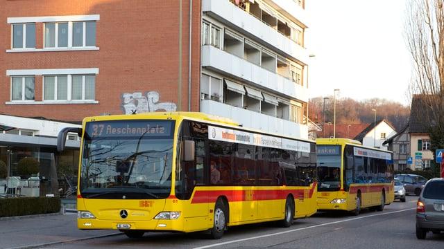 Zwei gelbe Busse der BLT hintereinander unterwegs.