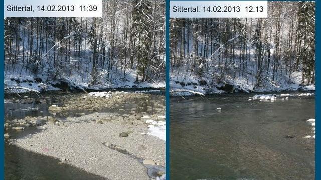 Die Auswirkungen von Schwall und Sunk anhand zweier Bilder dargestellt.