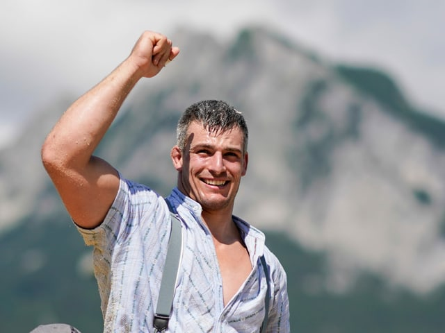 Samuel Giger nach seinem Sieg am Rigi in diesem Jahr.