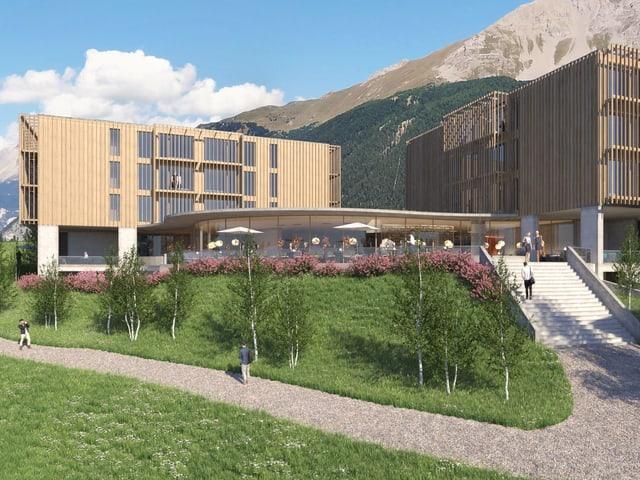 Visualisaziun da la duas chasas quadras ed ina via cha maina encunter l'entrada dal hotel.