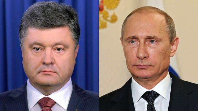 Porträts von Poroschenko und Putin