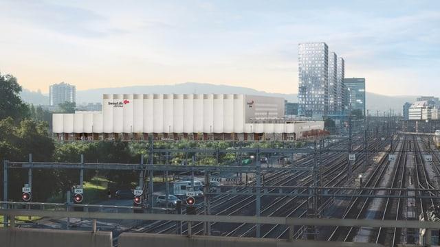Das neue Stadion der ZSC Lions liegt direkt an den Bahngleisen in Zürich-Altstetten.