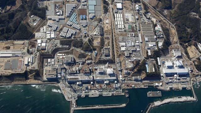 Das Atomkraftwerk Fukushima aus der Vogelperspektive.