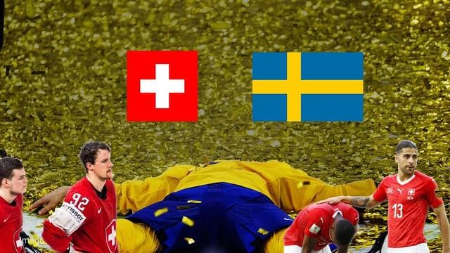 Zwei Hockeyspieler und zwei Fussballer grafisch vor einem in goldenem Glitzer liegendem Schweden inszeniert.