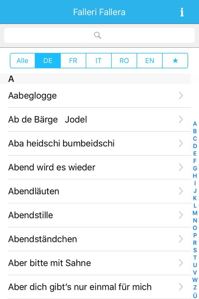 Screenshot mit Liedtiteln des Buchstabens A.