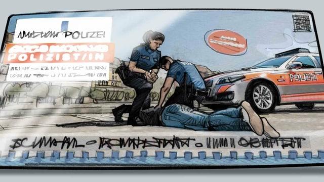 Illustration eines Polizeiplakates, das zwei Polizeileute zeigt, die einen Menschen am Boden festhalten.