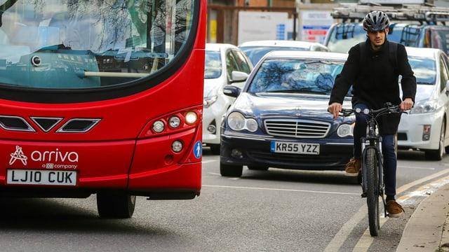 Velofahrer in London
